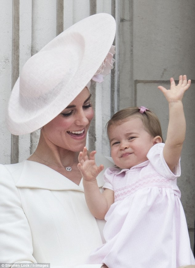 Princess Charlotte made her official public debut during the RAF fly past and treated the crowds to a royal wave