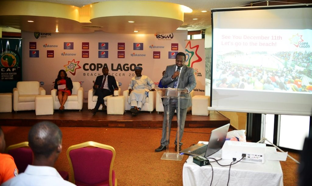 Group Head, Corporate Affairs of First City Monument Bank (FCMB) Limited, Mr. Diran Olojo, speaking during the during press briefing on the 2016 CAF Beach Soccer competition and COPA Lagos Beach Soccer Tournament.