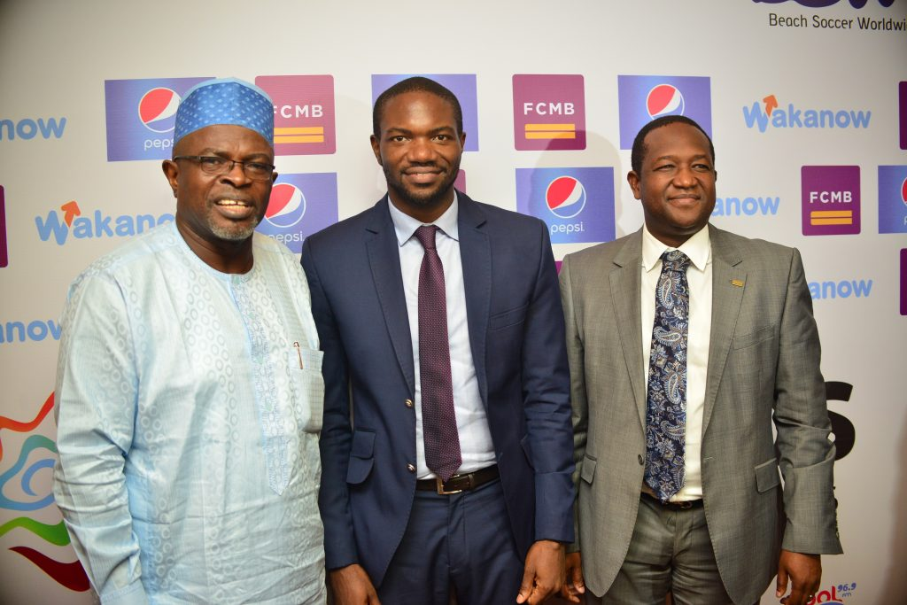 Member, Local Organising Committee of CAF Beach Soccer competition, Mr. Sunny Moniedafe; Chief Executive Officer of Kinetic Sports Limited, Mr. Samson Adamu and Group Head, Corporate Affairs of First City Monument Bank (FCMB) Limited, Mr. Diran Olojo, during press briefing on the 2016 CAF Beach Soccer competition and COPA Lagos Beach Soccer Tournament