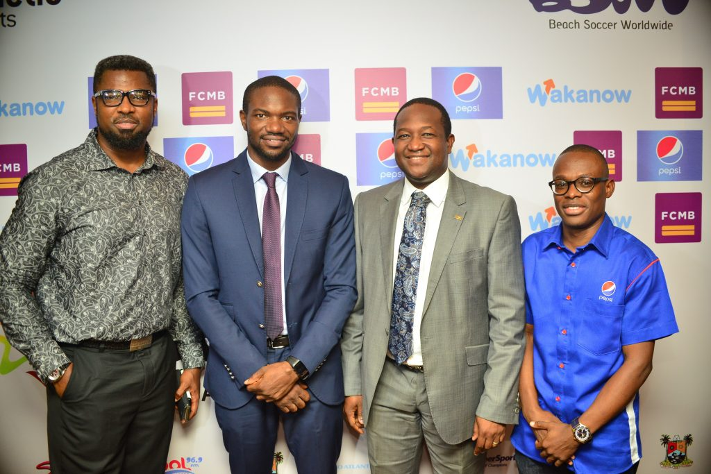 Mr. Moses Praiz; Chief Executive Officer of Kinetic Sports Limited, Mr. Samson Adamu; Group Head, Corporate Affairs of First City Monument Bank (FCMB) Limited, Mr. Diran Olojo and Senior Brand Manager, Pepsi, Mr. Segun Ogunleye, during press briefing on the 2016 CAF Beach Soccer competition and COPA Lagos Beach Soccer Tournament
