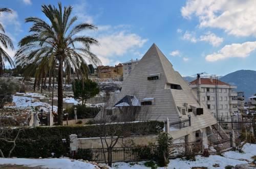 A house designed to look like a pyramid in Miziara (MEE/ Chloe Domat)